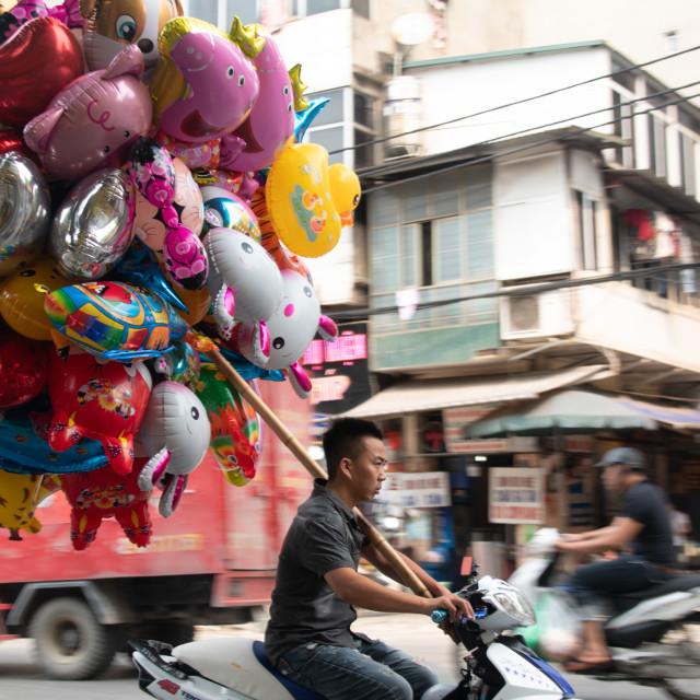 """""""Fun Balloon Trader in Vietnam Hanoi"""" stock image"""