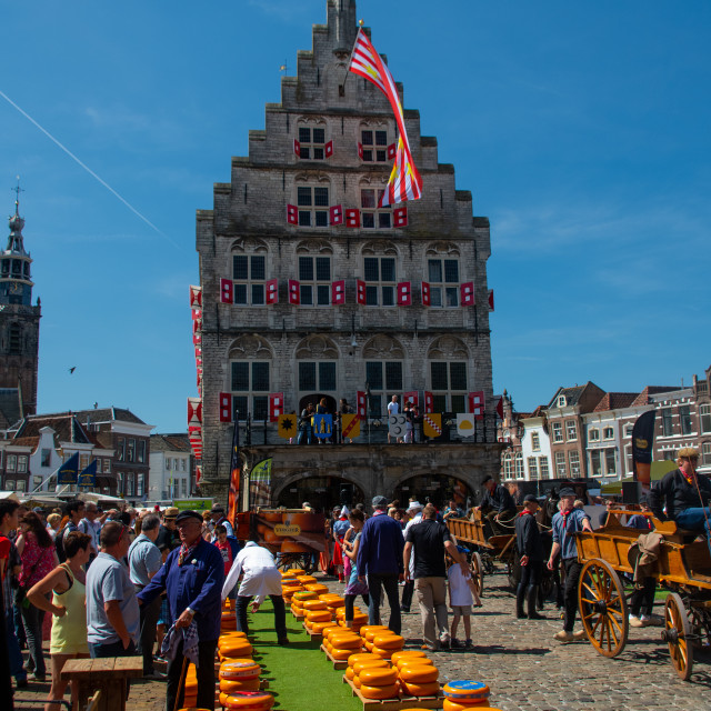 """Dutch Cheese market in of City Gouda"" stock image"