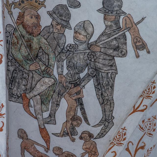 """Massacre of the innocents at Bethlehem, a medieval fresco"" stock image"