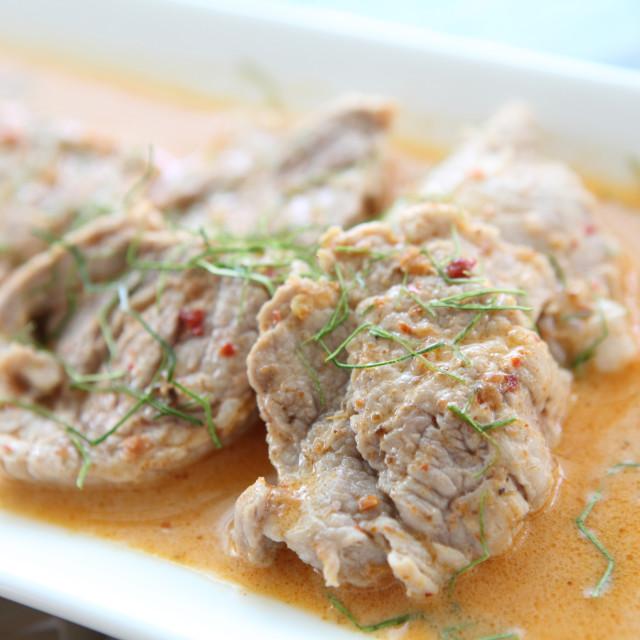 """""""savory curry pork"""" stock image"""