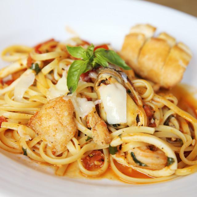 """Seafood Linguine"" stock image"