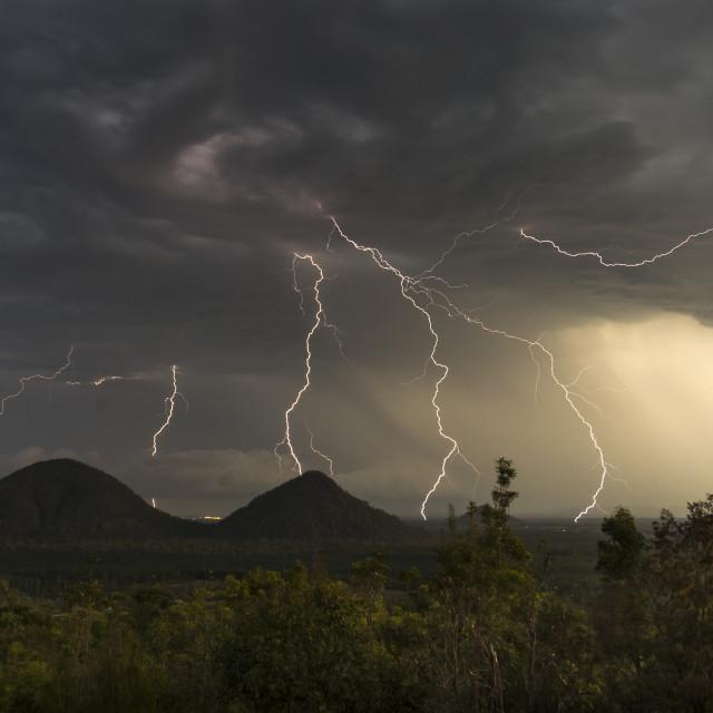 """""""Lightning, Glasshouse Mountains"""" stock image"""
