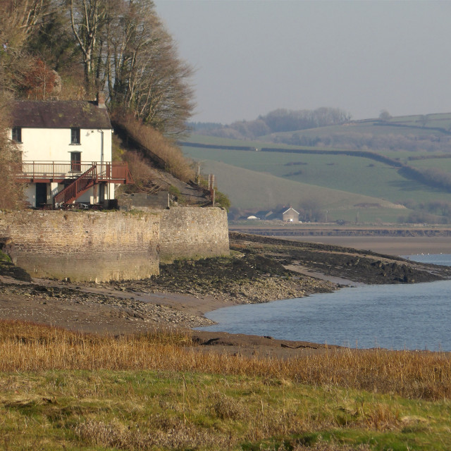 """""""The Boat House, Laugharne"""" stock image"""
