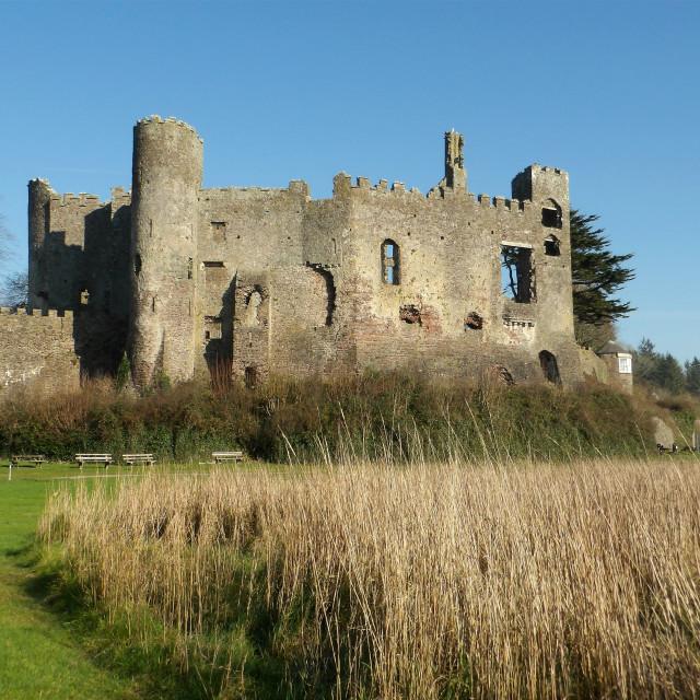 """Laugharne Castle, Carmarthenshire"" stock image"