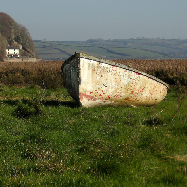 """""""Boat at Laugharne, Carmarthenshire"""" stock image"""