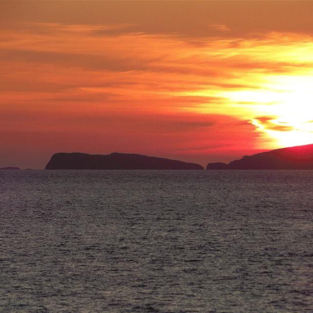 """Sunset over Ramsey Island, Pembrokeshire"" stock image"
