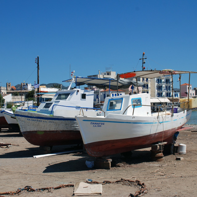 """Fishing boats, Aegina island"" stock image"