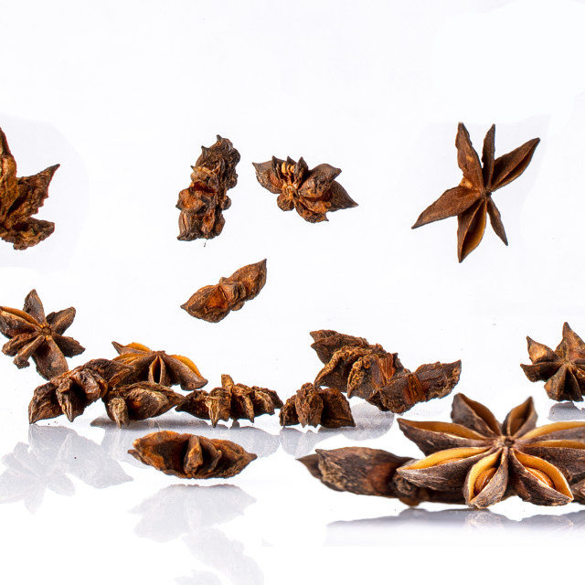 """""""star anise flying -right"""" stock image"""