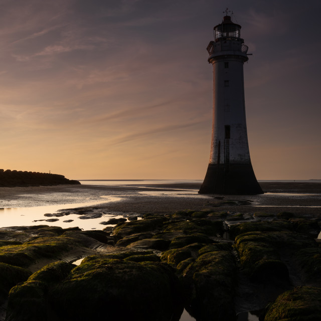 """Perch Rock Lighthouse, sunset"" stock image"
