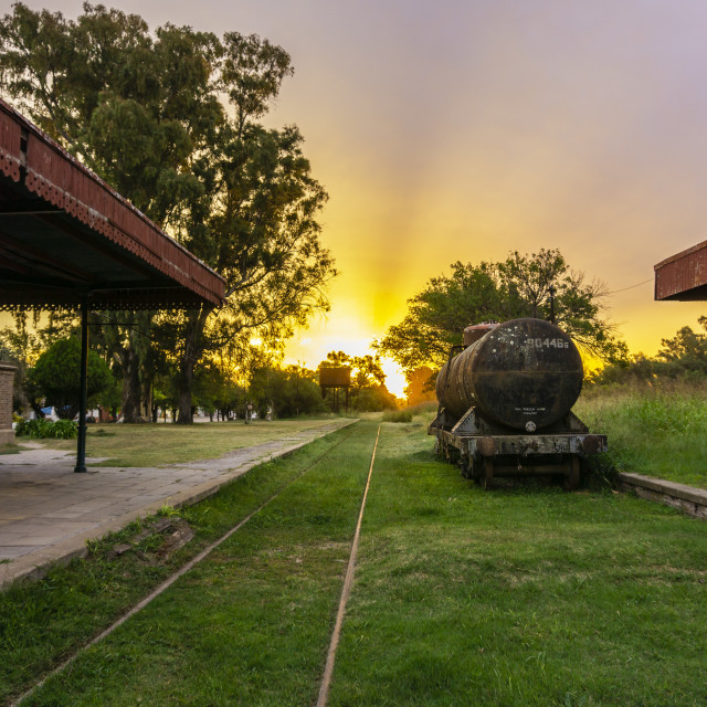 """""""Old Freight Train Cargo Wagon"""" stock image"""