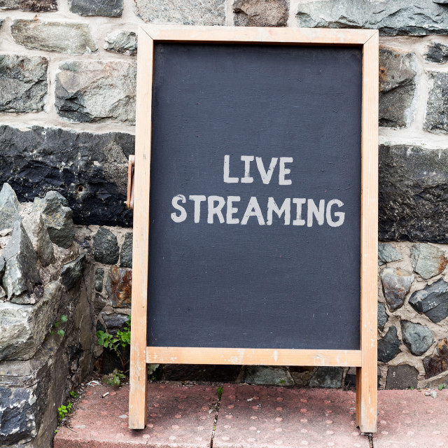 """""""Handwriting text writing Live Streaming. Concept meaning Transmit live video..."""" stock image"""