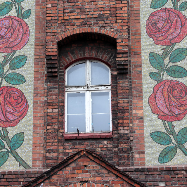 """Nikiszowiec Katowice flowers on building facade"" stock image"