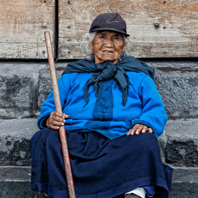 """""""Old Lady - Quito"""" stock image"""