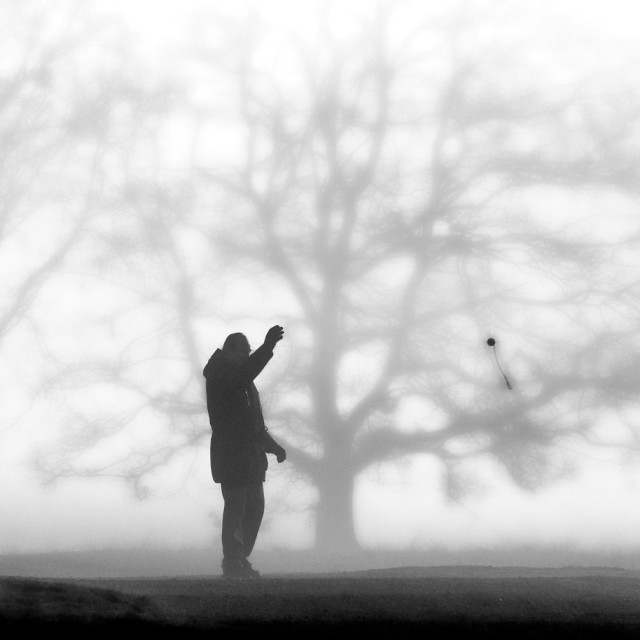"""""""Thrower in the Mist"""" stock image"""