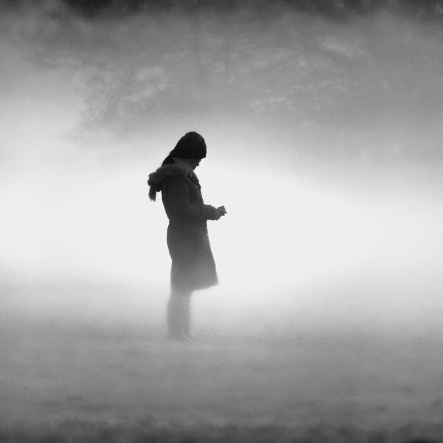 """Girl in the Mist"" stock image"