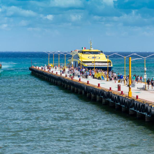 """""""Cozumel Landing Pier"""" stock image"""