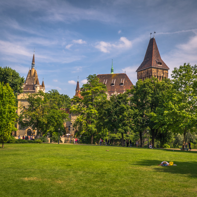 """Budapest - June 22, 2019: Vajdahunyad castle on the Pest side of Budapest,..."" stock image"
