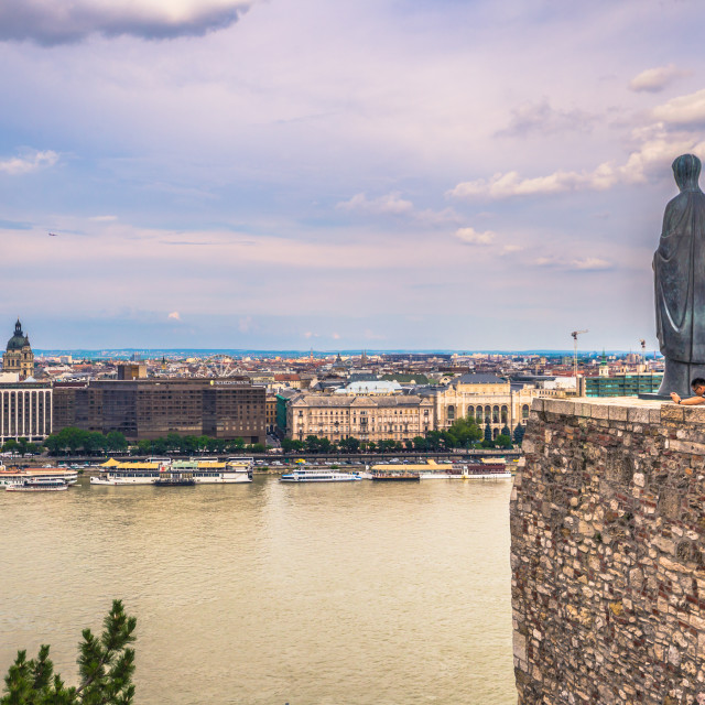 """Budapest - June 22, 2019: The Danube river seen from the Buda side of the..."" stock image"