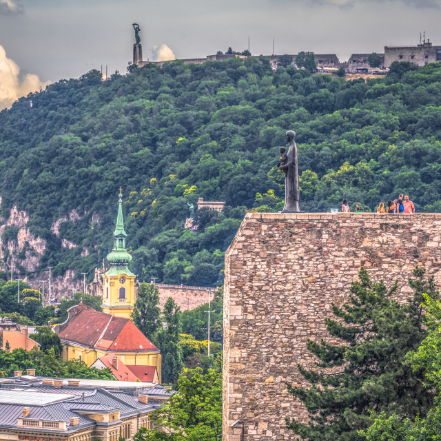 """Budapest - June 22, 2019: Fortress walls of the Buda side of the city of..."" stock image"