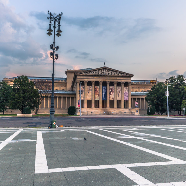 """Budapest - June 21, 2019: Dawn in Heroes Square in Budapest, Hungary"" stock image"