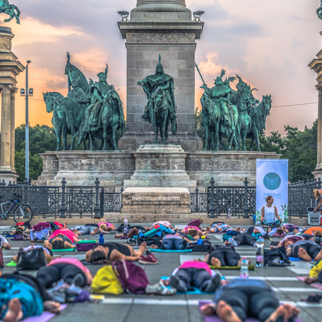 """Budapest - June 21, 2019: Yoga event at dawn in Heroes Square in Budapest,..."" stock image"