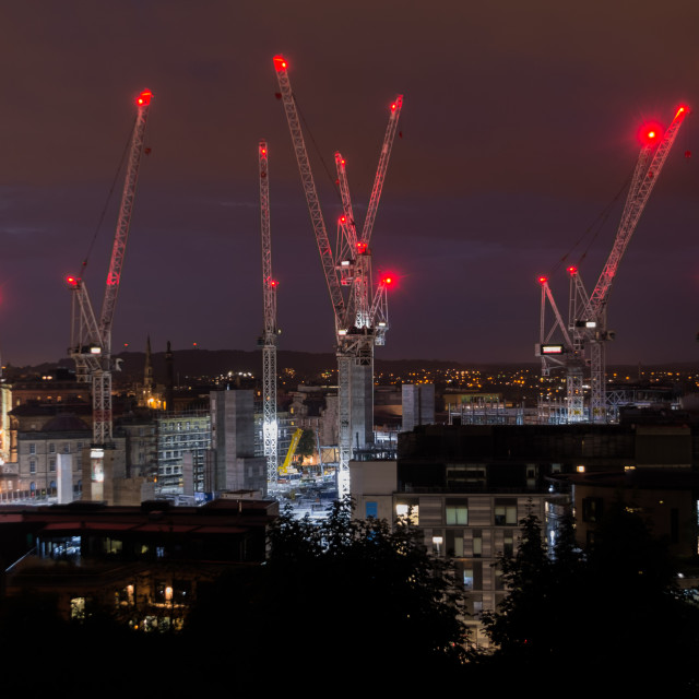 """Construction Cranes at night"" stock image"
