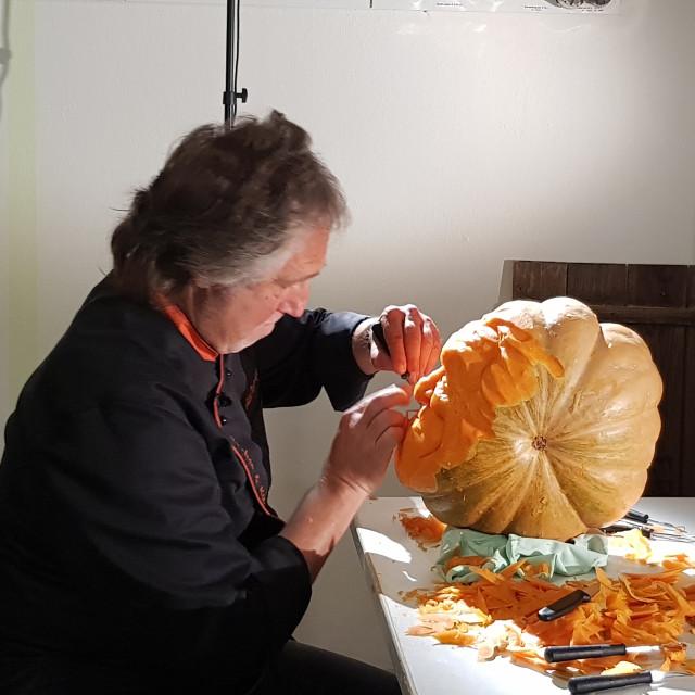 """portrait of actor bud spencer carved in pumpkin"" stock image"