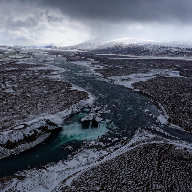 """""""Goðafoss from high up"""" stock image"""