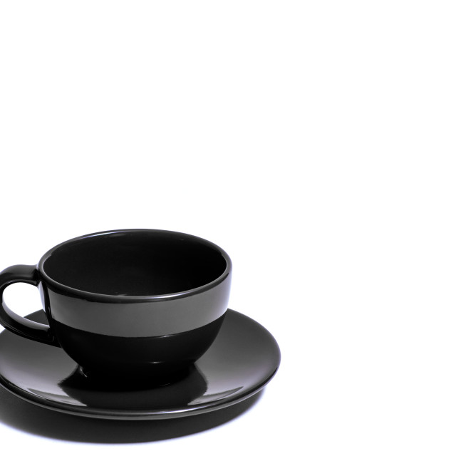 """""""Empty black coffee cup and saucer 01"""" stock image"""