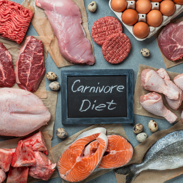 """Carnivore diet, zero carb concept, top view"" stock image"