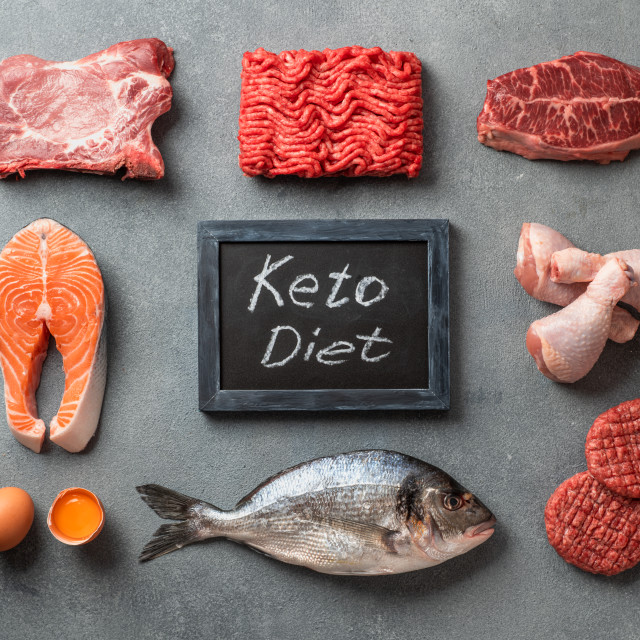 """""""Keto diet, low carb concept, top view"""" stock image"""