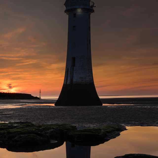 """Perch Rock Lighthouse after sunset"" stock image"
