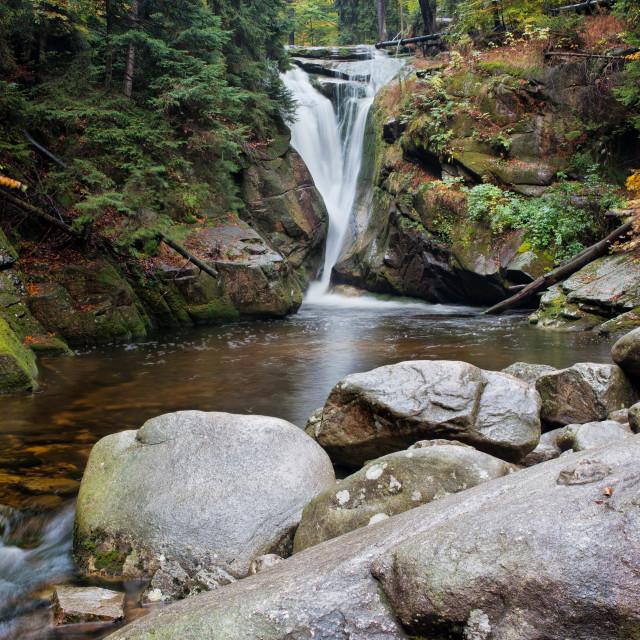 """Szklarka Waterfall in Karkonosze Mountains"" stock image"