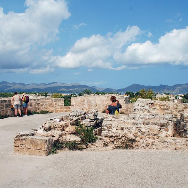 """Alcudia town defense wall, Majorca"" stock image"