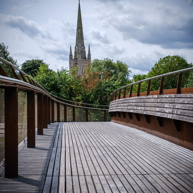 """""""Norwich Cathedral from the bridge"""" stock image"""