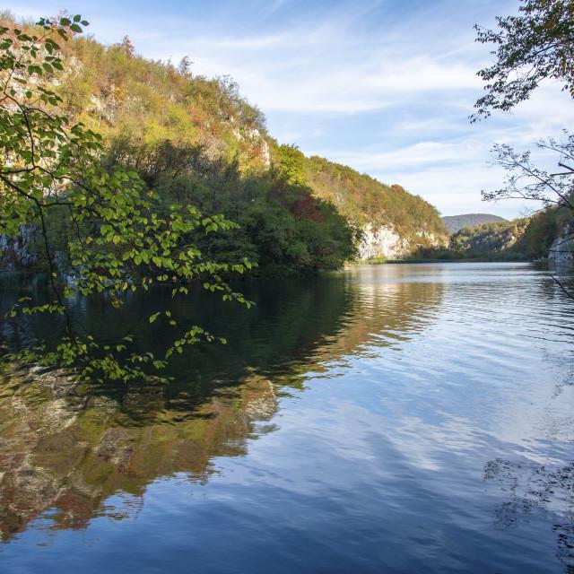 """colorful autumn season at the lakes"" stock image"