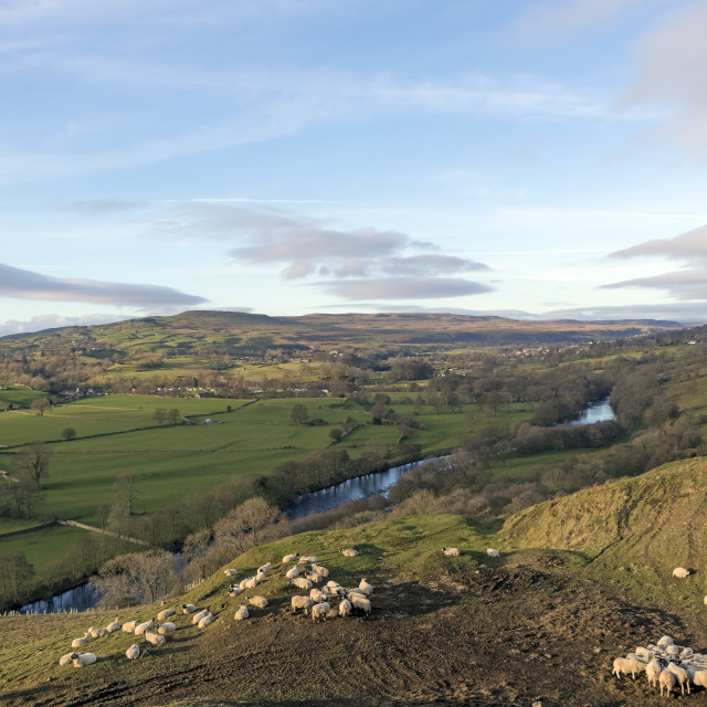 """The River Tees and the High Pennines Viewed From Whistle Crag, M"" stock image"