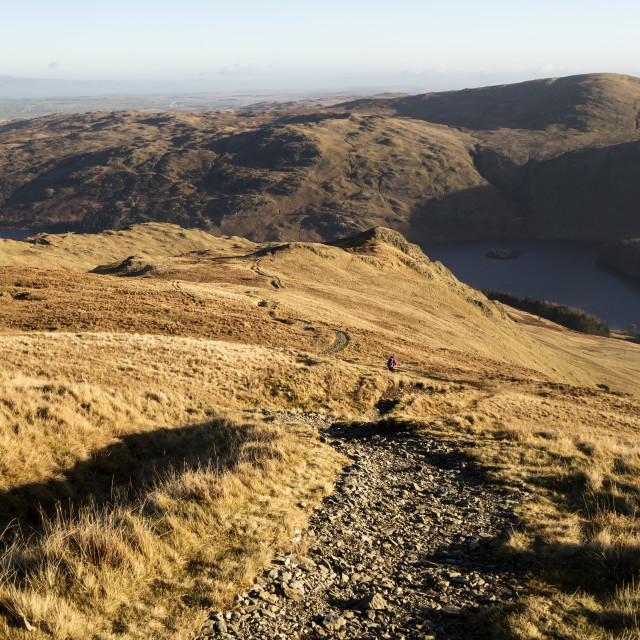 """""""The Descent Path to Kidsty Howes and Haweswater from Kidsty Pike"""" stock image"""