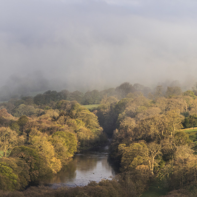 """The River Tees as Cloud Sweeps Across the Valley, Viewed from Whistle Crag"" stock image"