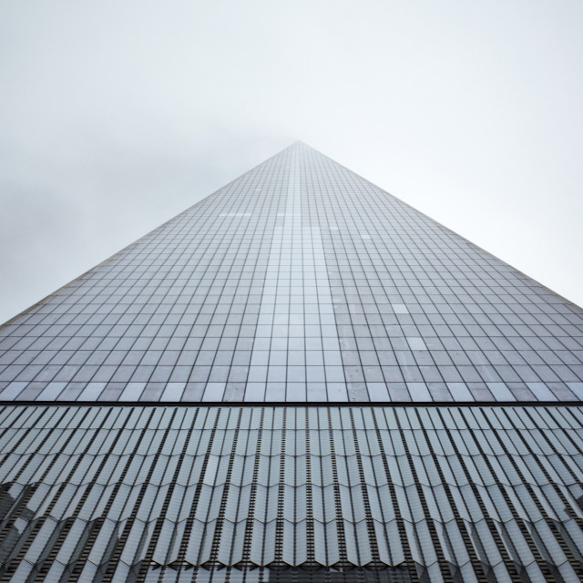 """Low angle view of One World Trade Center against sky"" stock image"