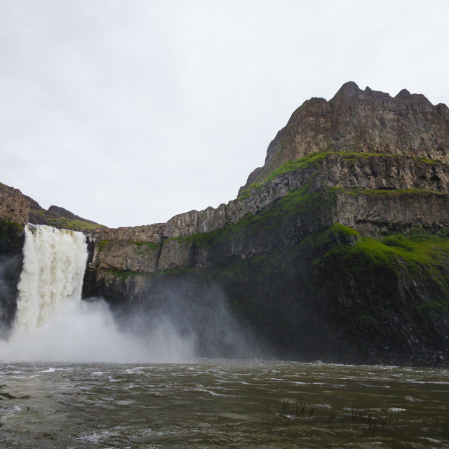 """Low angle view of waterfall at Palouse Falls State Park"" stock image"