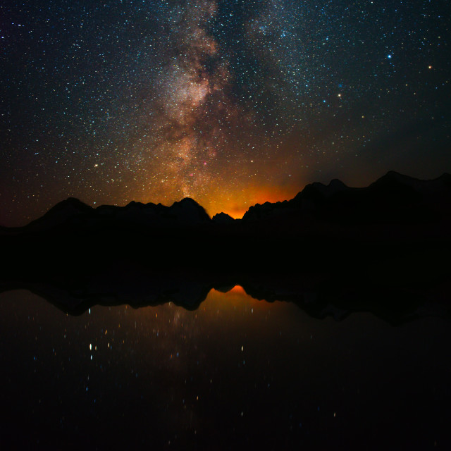 """Night Sky over Little Redfish Lake"" stock image"