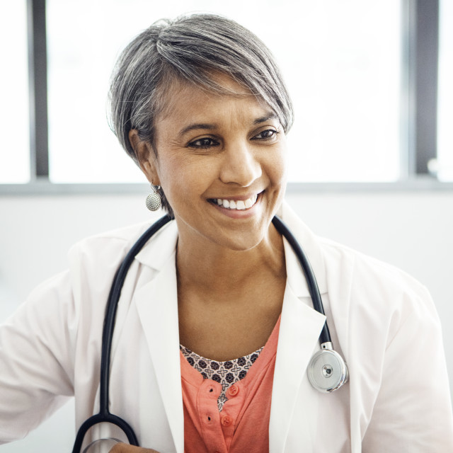 """""""Happy female doctor in clinic"""" stock image"""