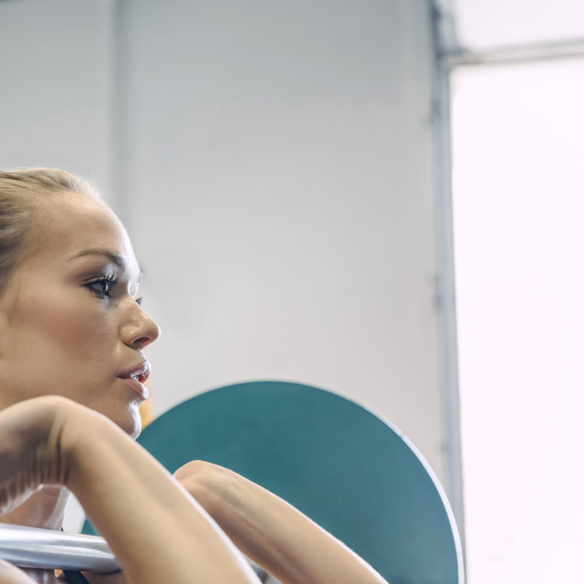 """Close-up of woman weightlifting in gym"" stock image"