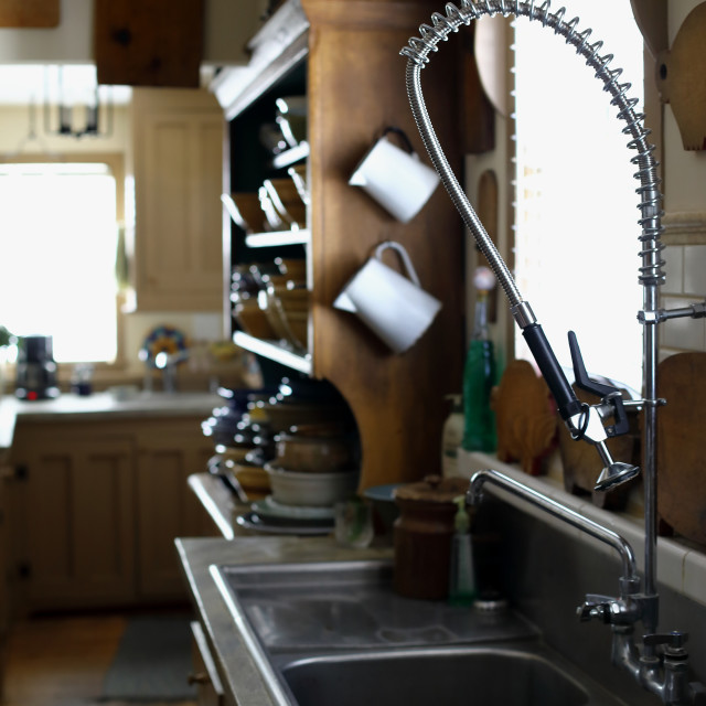 """Sink at kitchen"" stock image"
