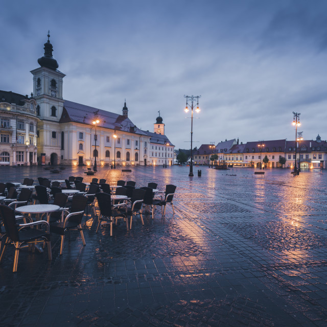 """Great Square in Sibiu in rain"" stock image"