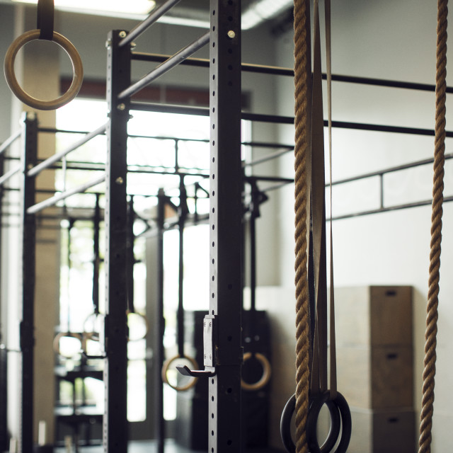 """""""Gymnastic rings hanging in gym"""" stock image"""