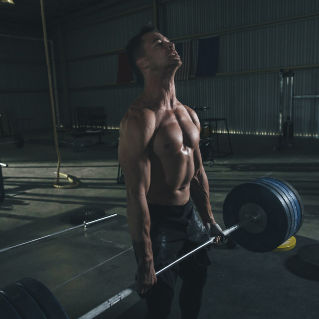 """""""Shirtless male athlete lifting barbell in health club"""" stock image"""