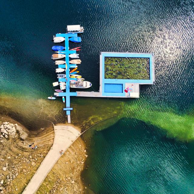 """Aerial View of Lake Boats and SwimingPool"" stock image"