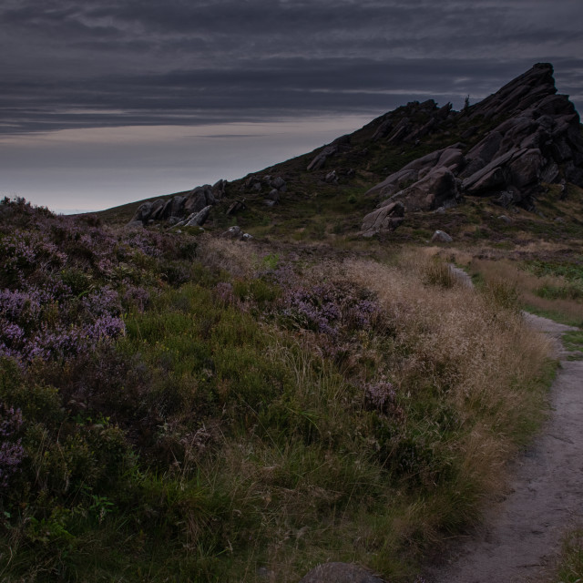 """Blue hour at Ramshaw Rocks"" stock image"